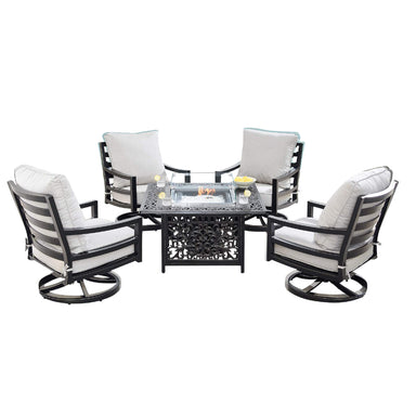 Oakland Living Hudson-Mayan 5-Piece Outdoor Fire Table Set - HUDSON-MAYAN-5PC-AC Outdoor Fire Table Sets Oakland Living