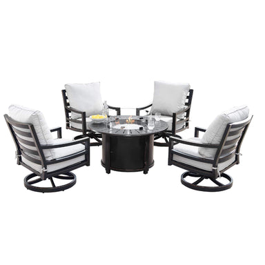 Oakland Living Hudson-Nobu 5-Piece Outdoor Fire Table Set - HUDSON-NOBU-5PC-AC Outdoor Fire Table Sets Oakland Living