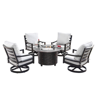 Oakland Living Hudson-Rico 5-Piece Outdoor Fire Table Set - HUDSON-RICO-5PC-AC Outdoor Fire Table Sets Oakland Living