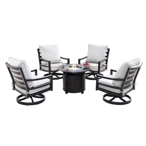 Image of Oakland Living Hudson-Ritz 5-Piece Outdoor Fire Table Set - HUDSON-RITZ-5PC-AC Outdoor Fire Table Sets Oakland Living