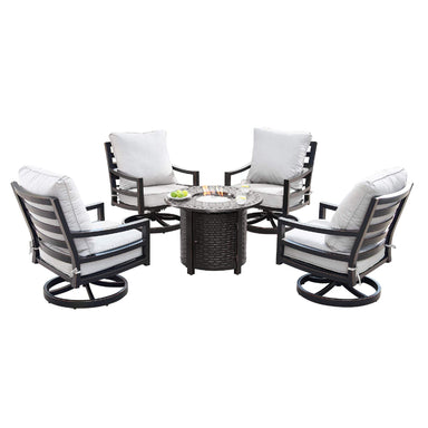 Oakland Living Hudson-Romero 5-Piece Outdoor Fire Table Set - HUDSON-ROMERO-5PC-AC Outdoor Fire Table Sets Oakland Living