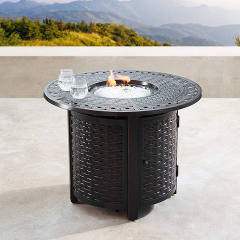 Image of Oakland Living Hudson-Romero 5-Piece Outdoor Fire Table Set - HUDSON-ROMERO-5PC-AC Outdoor Fire Table Sets Oakland Living