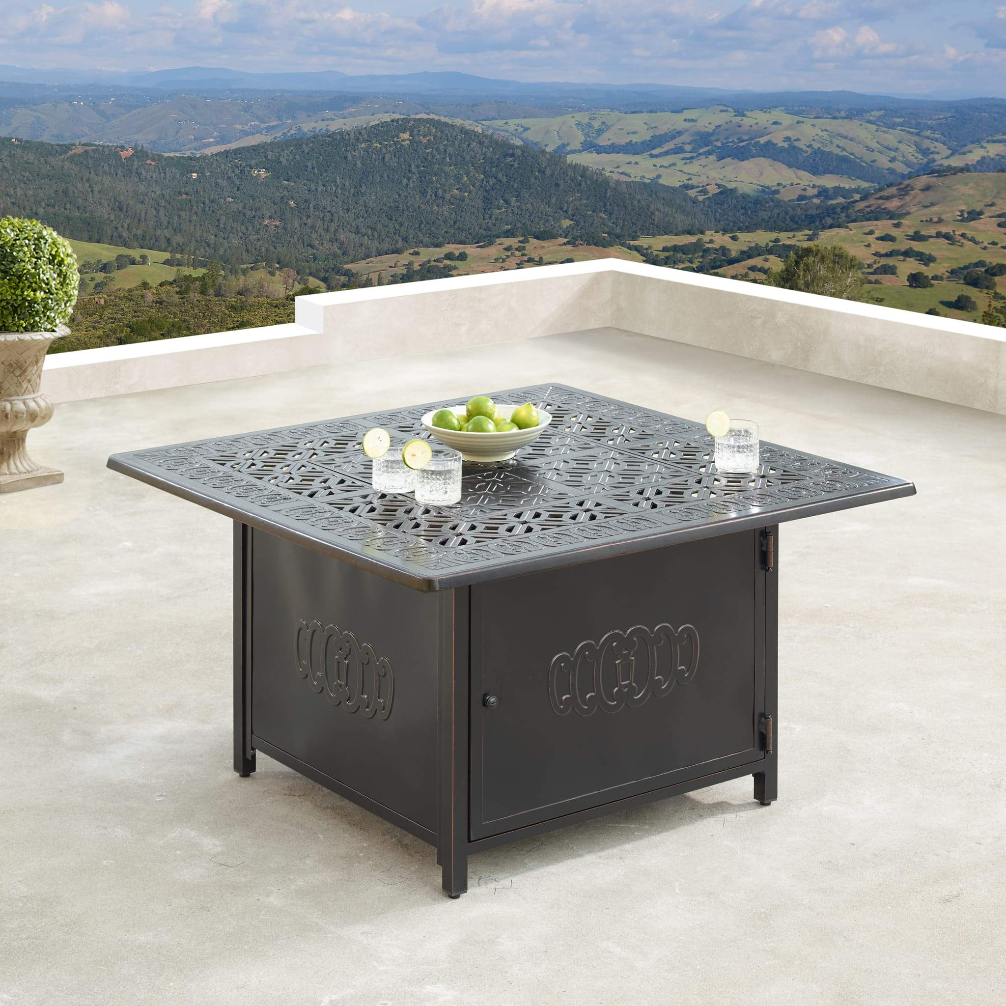 Oakland Living Hudson-Ronin 5-Piece Outdoor Fire Table Set - HUDSON-RONIN-5PC-AC Outdoor Fire Table Sets Oakland Living