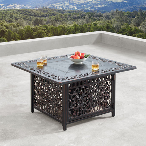 "Image of Oakland Living Mayan 42"" Square Propane Fire Pit Table - MAYAN-FPT-AC Fire Pit Table Oakland Living"