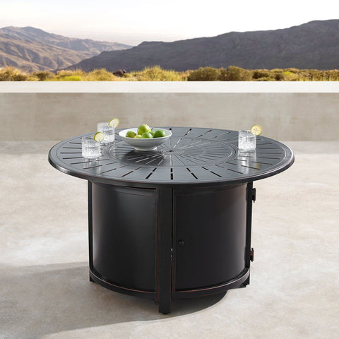 "Image of Oakland Living Nobu 44"" Round Propane Fire Pit Table - NOBU-FPT-AC Fire Pit Table Oakland Living"