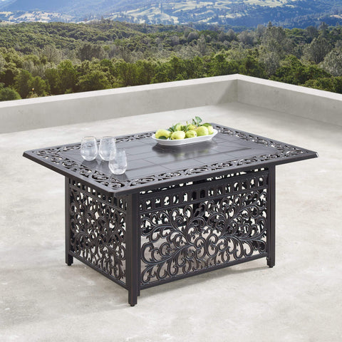 Image of Oakland Living Rica-Cabos 5-Piece Outdoor Fire Table Set - RICA-CABOS-5PC-AC Outdoor Fire Table Sets Oakland Living