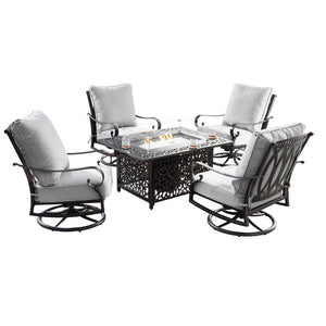 Oakland Living Rica-Cabos 5-Piece Outdoor Fire Table Set - RICA-CABOS-5PC-AC Outdoor Fire Table Sets Oakland Living