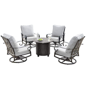 Oakland Living Rica-Romero 5-Piece Outdoor Fire Table Set - RICA-ROMERO-5PC-AC Outdoor Fire Table Sets Oakland Living