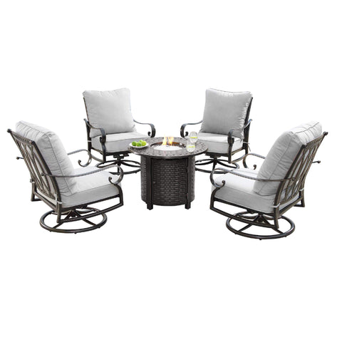 Image of Oakland Living Rica-Romero 5-Piece Outdoor Fire Table Set - RICA-ROMERO-5PC-AC Outdoor Fire Table Sets Oakland Living
