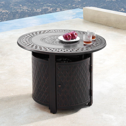 "Image of Oakland Living Ritz 34"" Round Propane Fire Pit Table - RITZ-FPT-AC - In Stock Fire Pit Table Oakland Living"
