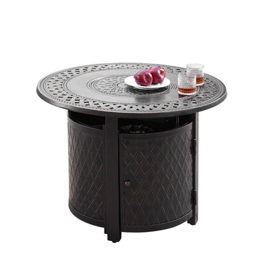 "Oakland Living Ritz 34"" Round Propane Fire Pit Table - RITZ-FPT-AC - In Stock Fire Pit Table Oakland Living"