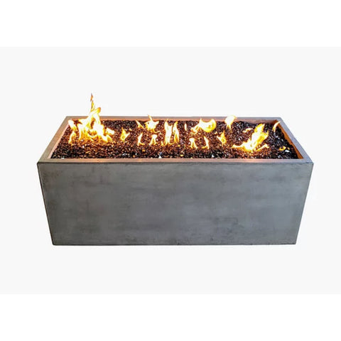 "Image of Pottery Works 50"" Rectangular Concrete Fire Pit - In Stock Fire Pit Table Pottery Works Natural Gas Natural"