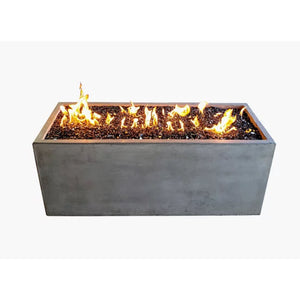 "Pottery Works 50"" Rectangular Concrete Fire Pit - In Stock Fire Pit Table Pottery Works Natural Gas Natural"