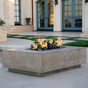 Prism Hardscapes Tavola 1 Concrete Gas Fire Pit PH-405, 56x38-Inch Gas Fire Pit Prism Hardscapes
