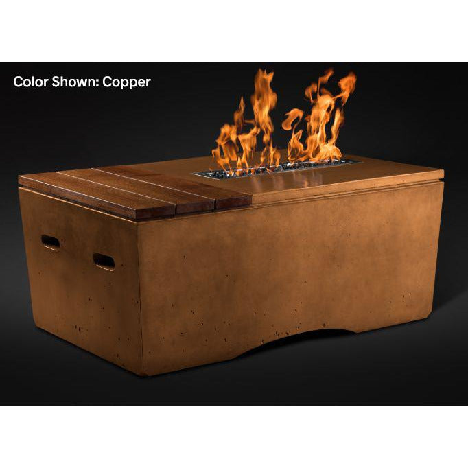 Slick Rock Concrete Oasis Series 48-Inch Rectangle Fire Table KOF48 Fire Pit Slick Rock Concrete Electronic Ignition Propane Copper