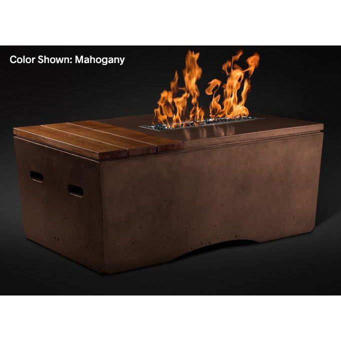 Slick Rock Concrete Oasis Series 48-Inch Rectangle Fire Table KOF48 Fire Pit Slick Rock Concrete Electronic Ignition Propane Mahogany
