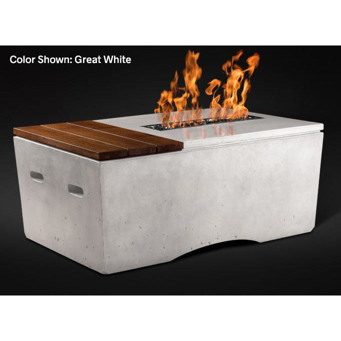 Slick Rock Concrete Oasis Series 48-Inch Rectangle Fire Table KOF48 Fire Pit Slick Rock Concrete Electronic Ignition Propane White