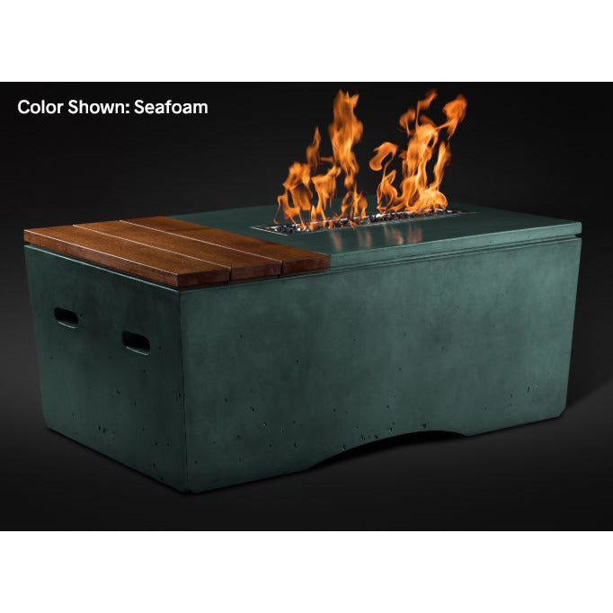 Slick Rock Concrete Oasis Series 48-Inch Rectangle Fire Table KOF48 Fire Pit Slick Rock Concrete Electronic Ignition Propane Seafoam