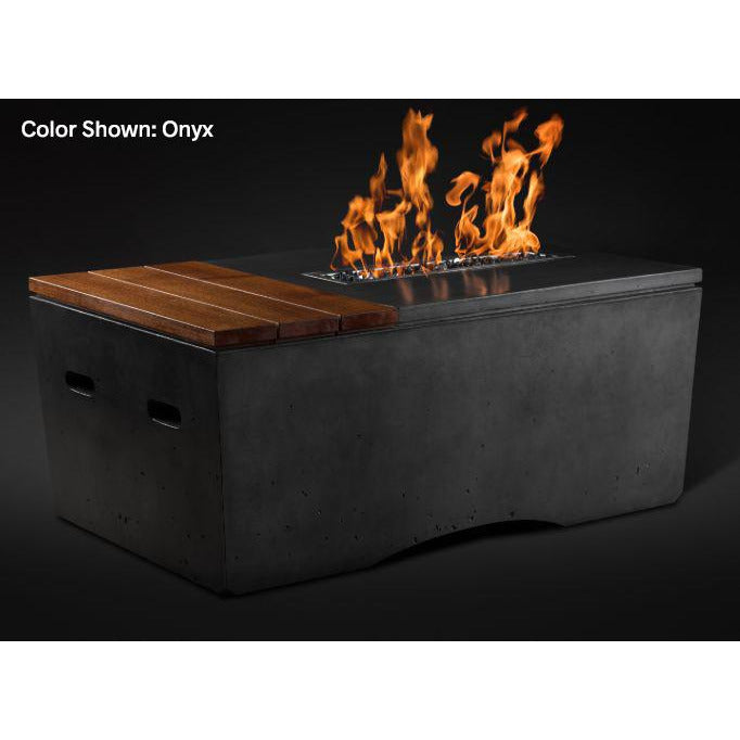 Slick Rock Concrete Oasis Series 48-Inch Rectangle Fire Table KOF48 Fire Pit Slick Rock Concrete Electronic Ignition Propane Onyx