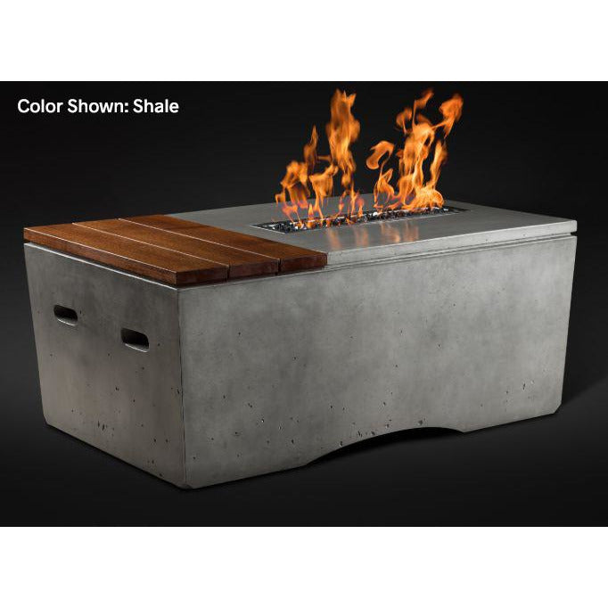 Slick Rock Concrete Oasis Series 48-Inch Rectangle Fire Table KOF48 Fire Pit Slick Rock Concrete Electronic Ignition Propane Shale