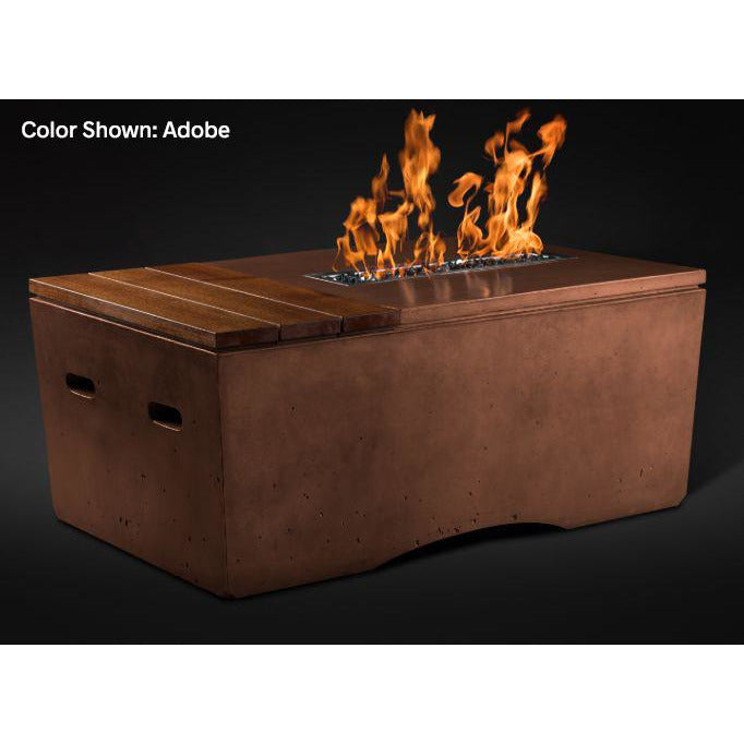 Slick Rock Concrete Oasis Series 48-Inch Rectangle Fire Table KOF48 Fire Pit Slick Rock Concrete Electronic Ignition Propane Adobe