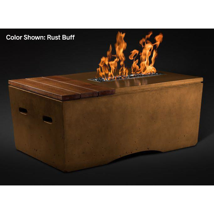 Slick Rock Concrete Oasis Series 48-Inch Rectangle Fire Table KOF48 Fire Pit Slick Rock Concrete Electronic Ignition Propane Rustbuff
