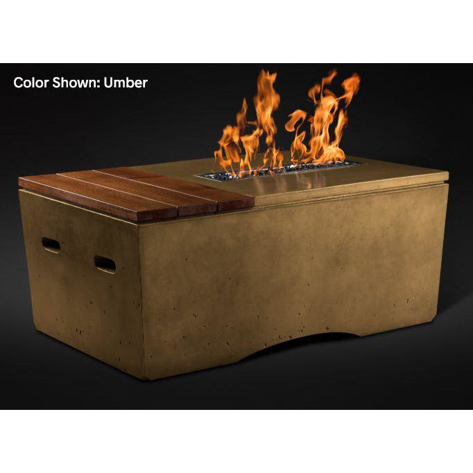 Slick Rock Concrete Oasis Series 48-Inch Rectangle Fire Table KOF48 Fire Pit Slick Rock Concrete Electronic Ignition Propane Umber