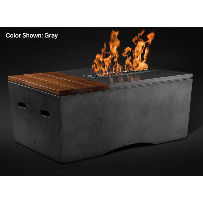 Slick Rock Concrete Oasis Series 48-Inch Rectangle Fire Table KOF48 Fire Pit Slick Rock Concrete Electronic Ignition Propane Gray