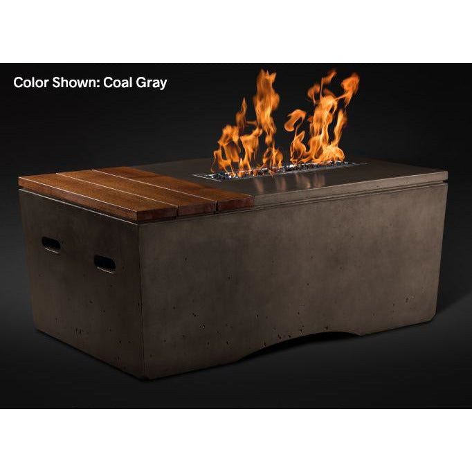 Slick Rock Concrete Oasis Series 48-Inch Rectangle Fire Table KOF48 Fire Pit Slick Rock Concrete Electronic Ignition Propane Coal Gray
