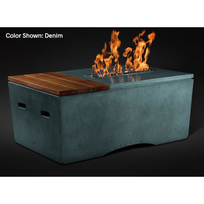 Slick Rock Concrete Oasis Series 48-Inch Rectangle Fire Table KOF48 Fire Pit Slick Rock Concrete Electronic Ignition Propane Denim