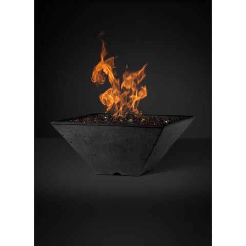 Image of Slick Rock Concrete Ridgeline Series 29-Inch Square Fire Pit KRL29S Fire Pit Slick Rock Concrete Electronic Ignition Natural Gas Onyx