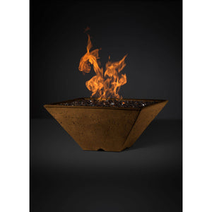 Slick Rock Concrete Ridgeline Series 29-Inch Square Fire Pit KRL29S Fire Pit Slick Rock Concrete Electronic Ignition Natural Gas Rustbuff