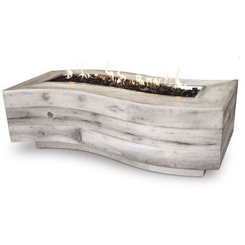 "Image of The Outdoor Plus 72"" Big Sur Wood Grain Concrete Fire Pit Fire Pit The Outdoor Plus Ivory Propane Match"
