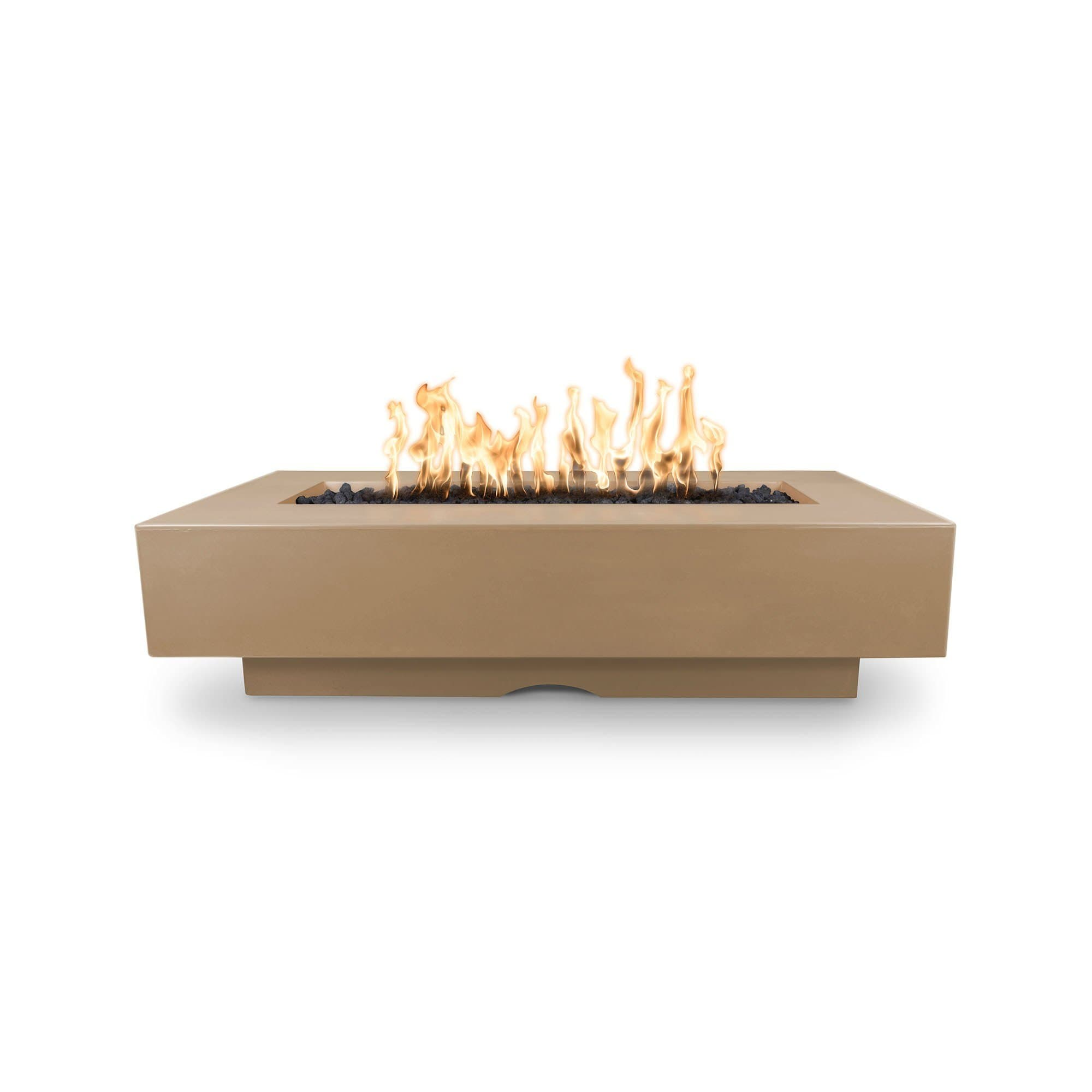 "The Outdoor Plus Del Mar Concrete Fire Pit 84"" Model OPT-DEL8428 Fire Pit The Outdoor Plus Brown Electronic Ignition Natural Gas"