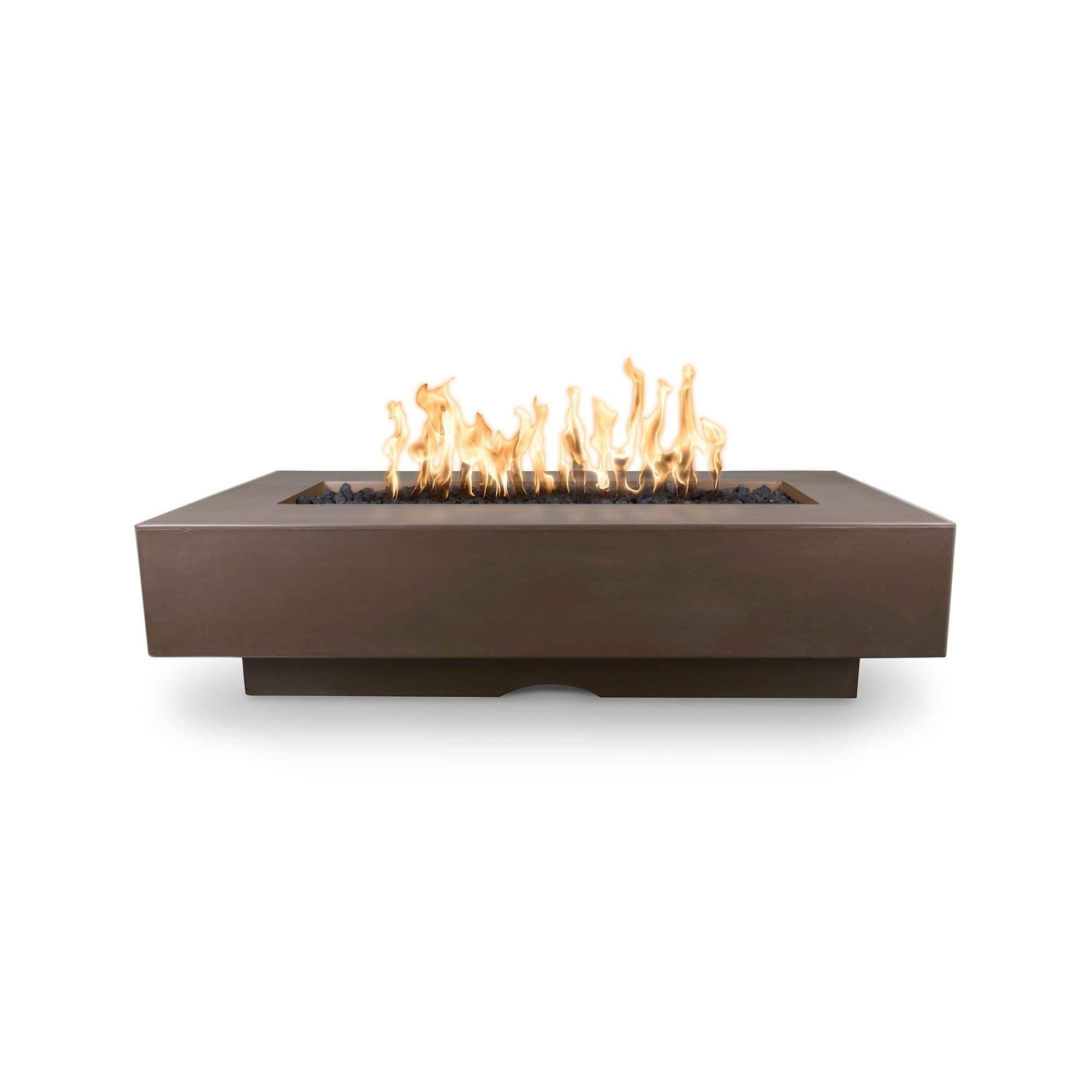"The Outdoor Plus Del Mar Concrete Fire Pit 84"" Model OPT-DEL8428 Fire Pit The Outdoor Plus Chocolate Electronic Ignition Natural Gas"