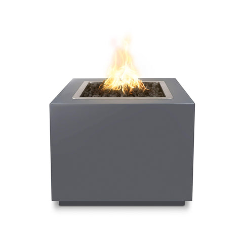 "Image of The Outdoor Plus Forma 30"" Fire Pit OPT-30PCSQ Fire Pit The Outdoor Plus Gray Powdercoat Electronic Ignition Natural Gas"
