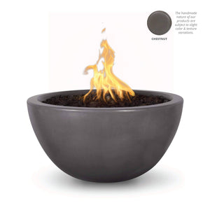 "The Outdoor Plus Luna 38"" Concrete Fire Pit OPT-LUN38 Fire Pit The Outdoor Plus Chestnut Electronic Ignition Natural Gas"