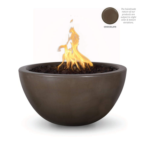 "Image of The Outdoor Plus Luna 38"" Concrete Fire Pit OPT-LUN38 Fire Pit The Outdoor Plus Chocolate Electronic Ignition Natural Gas"