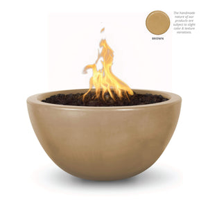 "The Outdoor Plus Luna 38"" Concrete Fire Pit OPT-LUN38 Fire Pit The Outdoor Plus Brown Electronic Ignition Natural Gas"