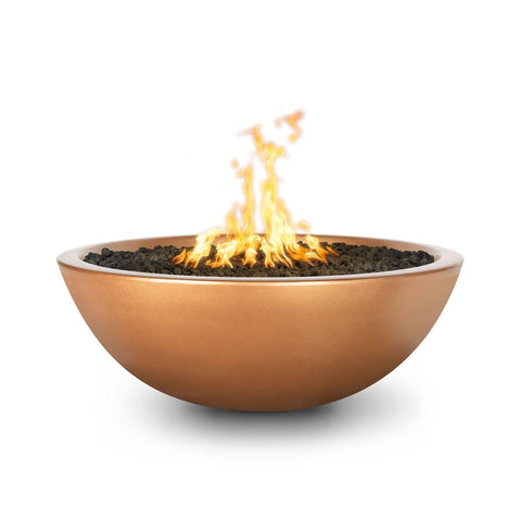 Image of The Outdoor Plus Sedona Concrete Fire Pit OPT-SED60 Fire Pit The Outdoor Plus Metallic Copper Electronic Ignition Natural Gas