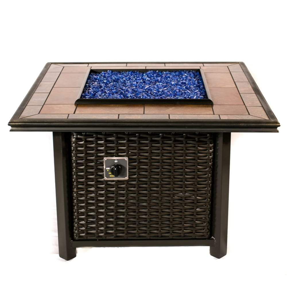 "Wicker Square Fire Pit Table 36"" By Tretco Tretco"