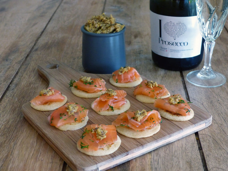 Smoky Gravlax with Prosecco Mustard Canapes