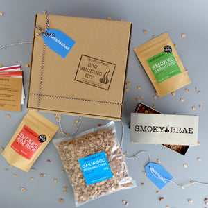 BBQ Smoking Kit Contents Containing Stainless Steel Smoker box, BBQ Rubs & Oak Chips by Smoky Brae