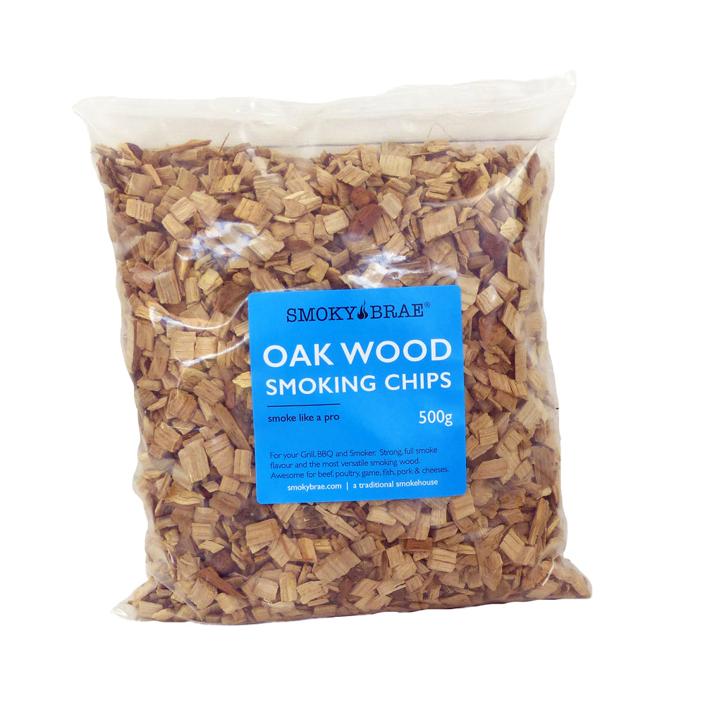500g Bag of Smoky Brae's Oak Wood Smoking Chips for Hot Smoking Projects Using your BBQ or Smoke Generator