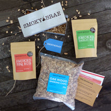 Load image into Gallery viewer, BBQ Smoking Kit Contents Containing Stainless Steel Smoker box, BBQ Rubs & Oak Chips by Smoky Brae