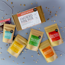 Load image into Gallery viewer, Smoky Brae's Smoked BBQ Box Gift Set Contents Consisting of Smoked BBQ Rub, Garlic Rub, Chilli Rub, Sea Salt, Chilli Flakes, For People That Love Barbecue Flavours