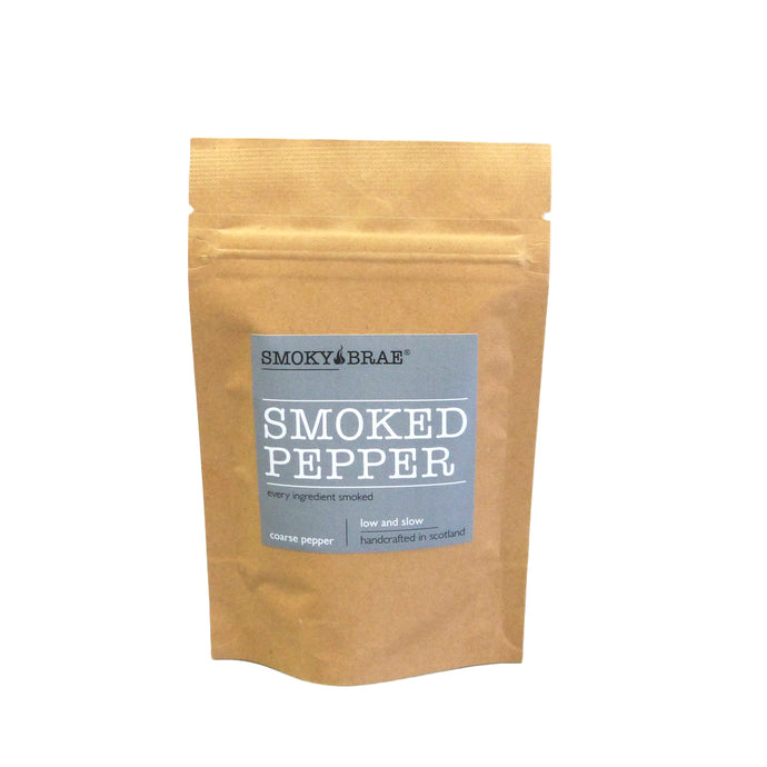 30g Pouch of Smoked Coarse Black Pepper by Smoky Brae, use on steaks, eggs, tomatoes & potatoes