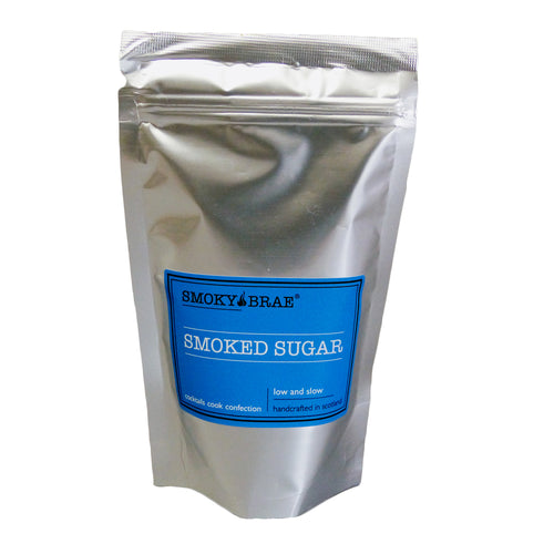 235g Pouch of Smoked Demerara Sugar by Smoky Brae, use for glazing a Christmas Ham or making caramels or on top of grilled peaches