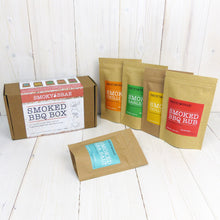 Load image into Gallery viewer, Smoked BBQ Box Gift Set Contents Consisting of Smoked BBQ Rub, Garlic Rub, Chilli Rub, Sea Salt, Chilli Flakes, For People That Love Barbecue Flavours