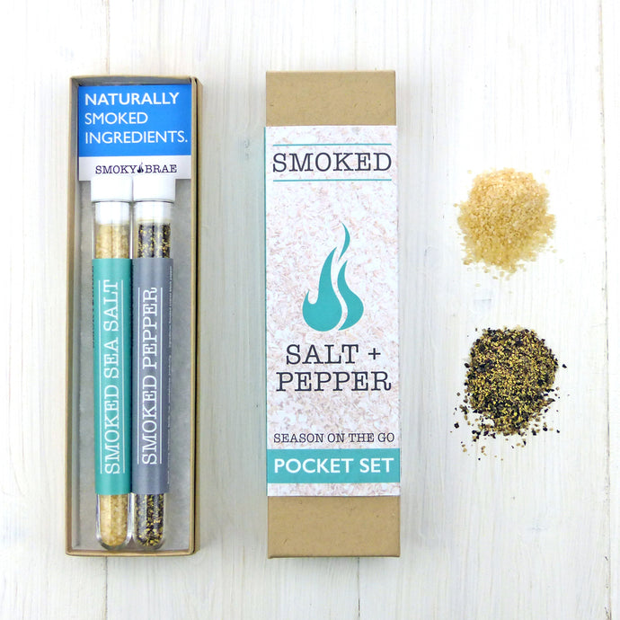 Smoked Salt and Pepper Pocket set for seasoning food while travelling, camping, caravanning and Beach BBQ's by Smoky Brae
